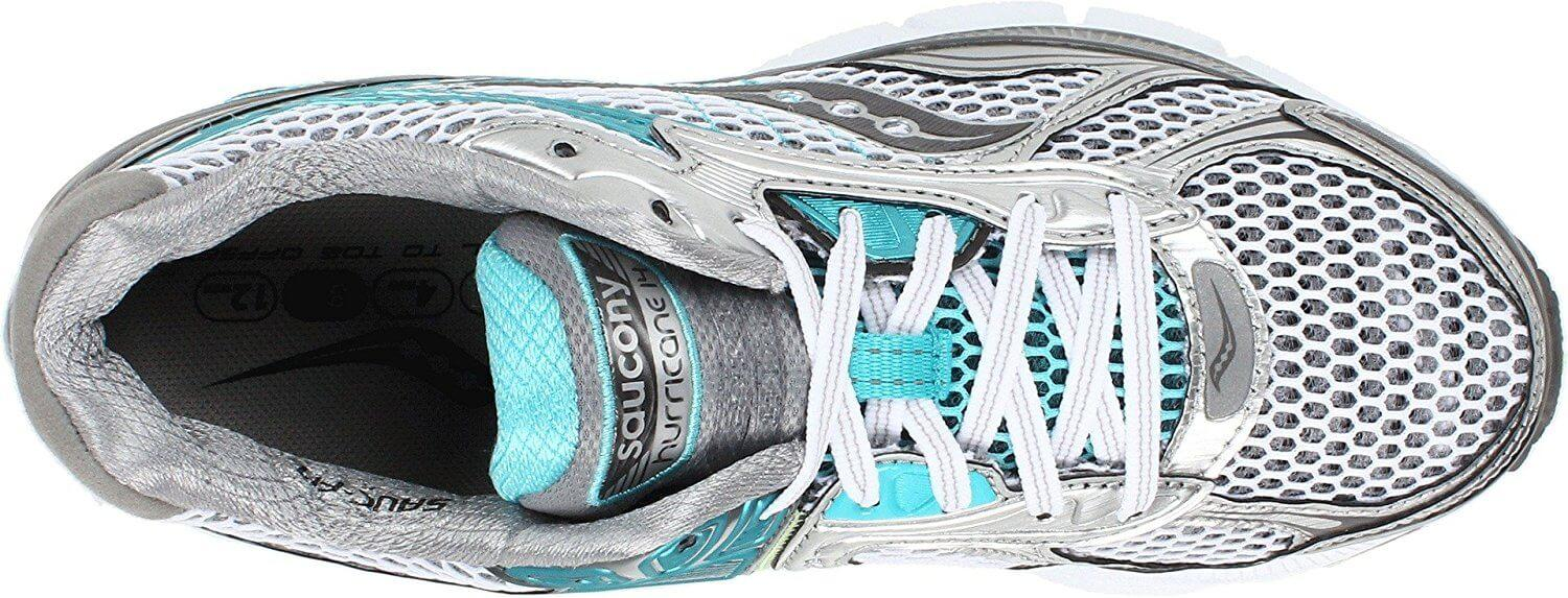 Saucony Hurricane 14 features an open mesh upper for breathability.