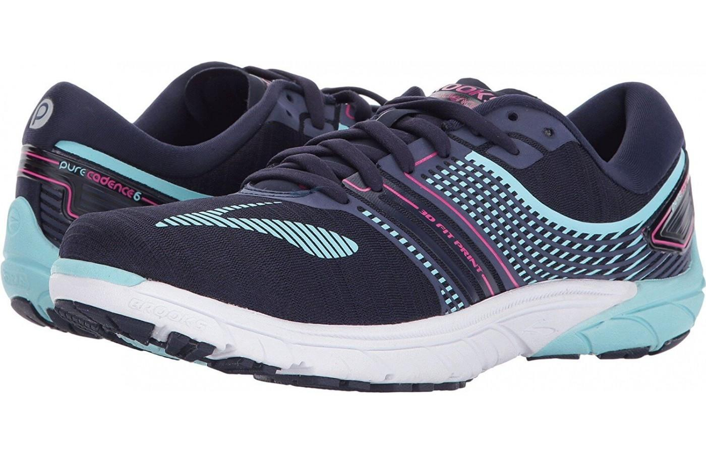 Pair of Brooks PureCadence 6 in teal and dark blue