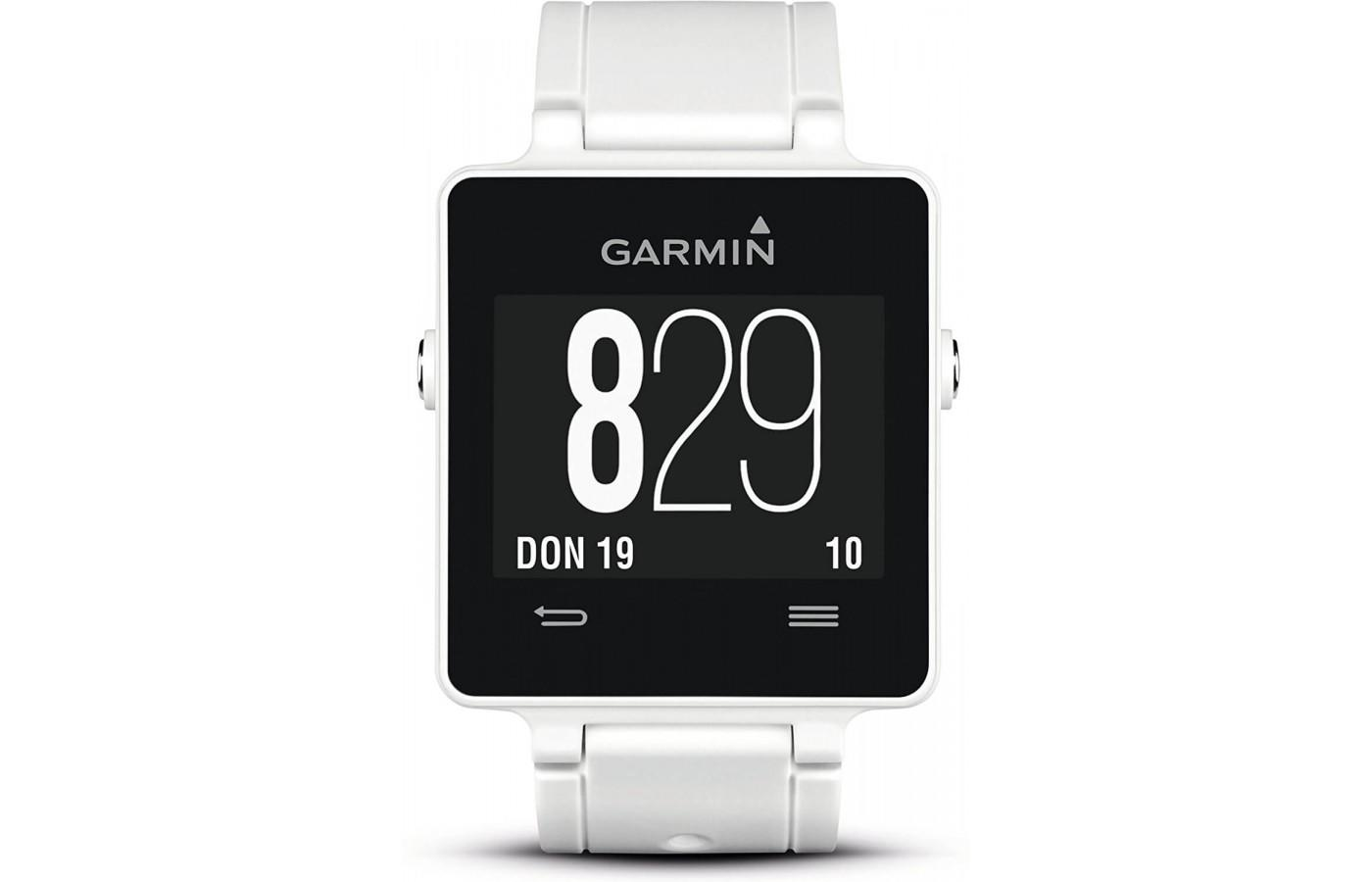Front screen view of white Garmin Vivoactive