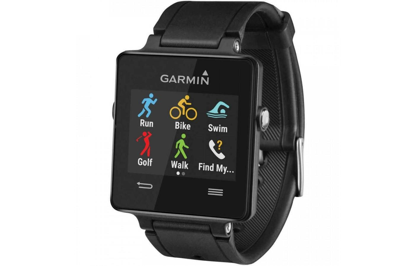 Angled view of black Garmin Vivoactive