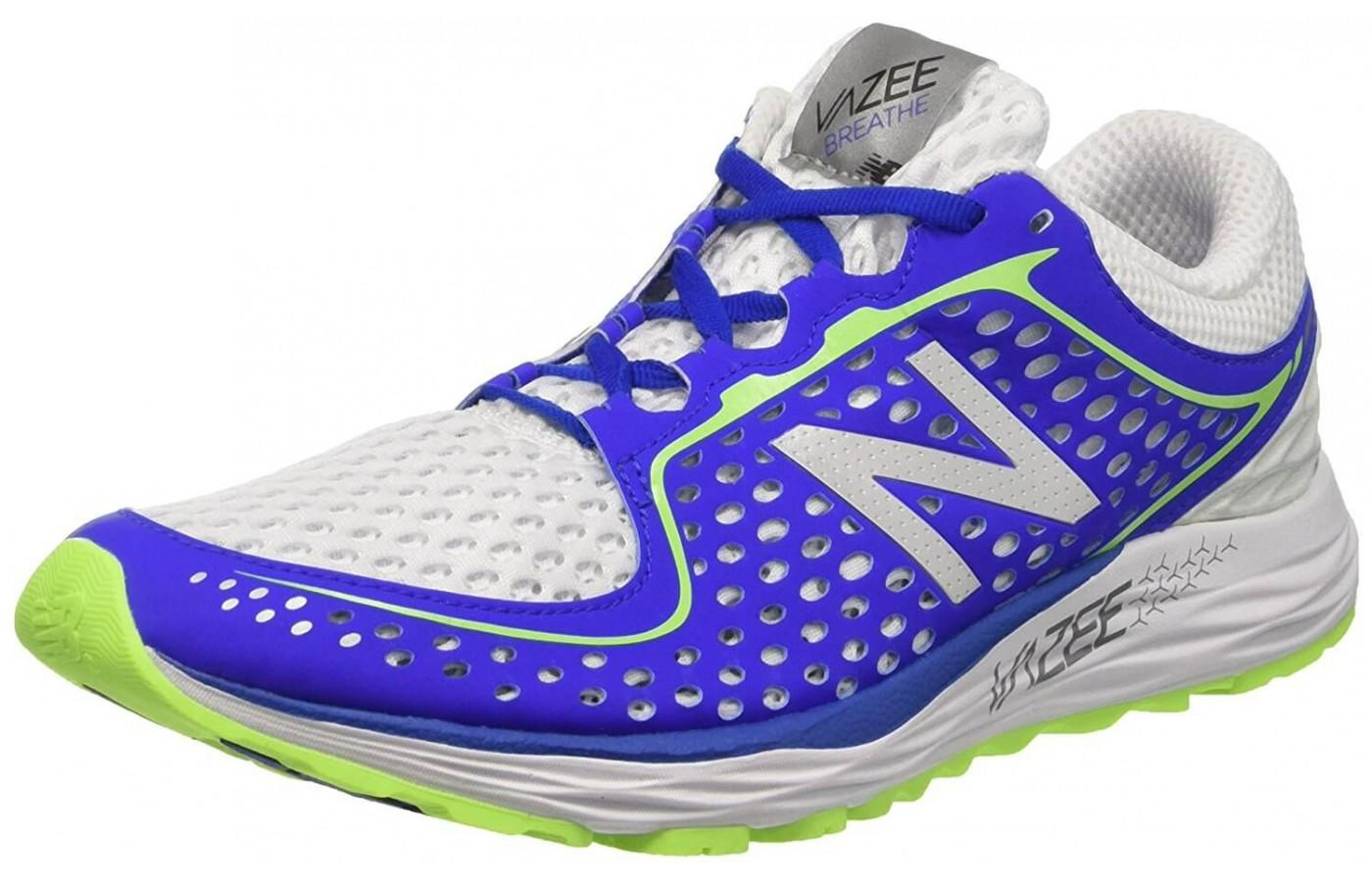 The synthetic perforated rib cage upper secures the foot in the New Balance Vazee Breathe.