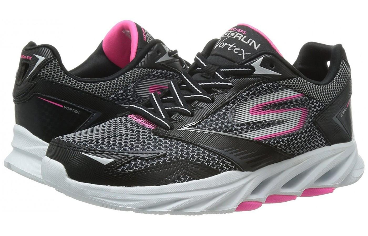 Pair of Skechers GoRun Vortex in black with pink and white accents