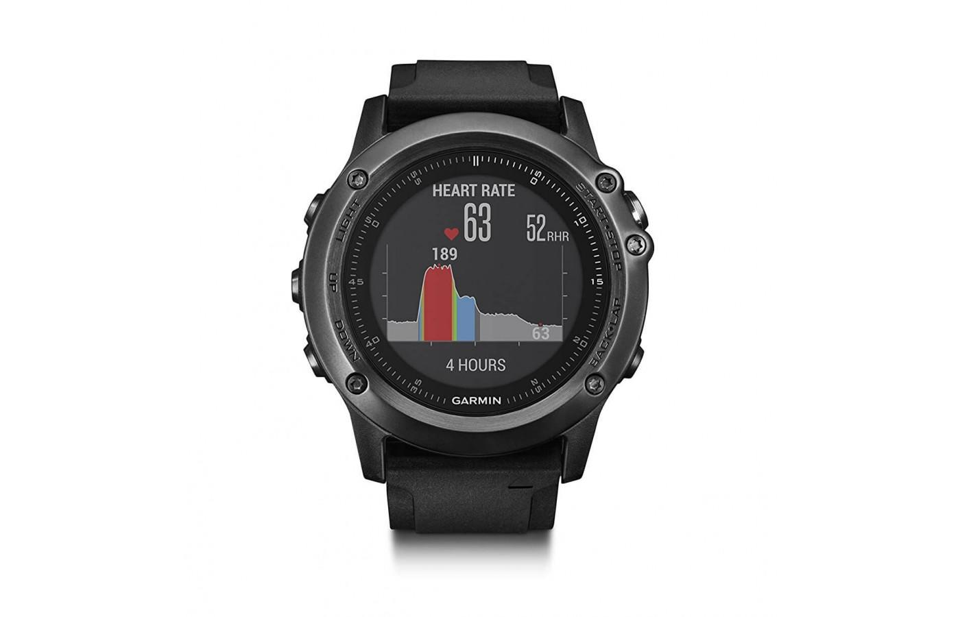 the Garmin fenix 3 HR has a full-color, easy-to-read, hi-res face
