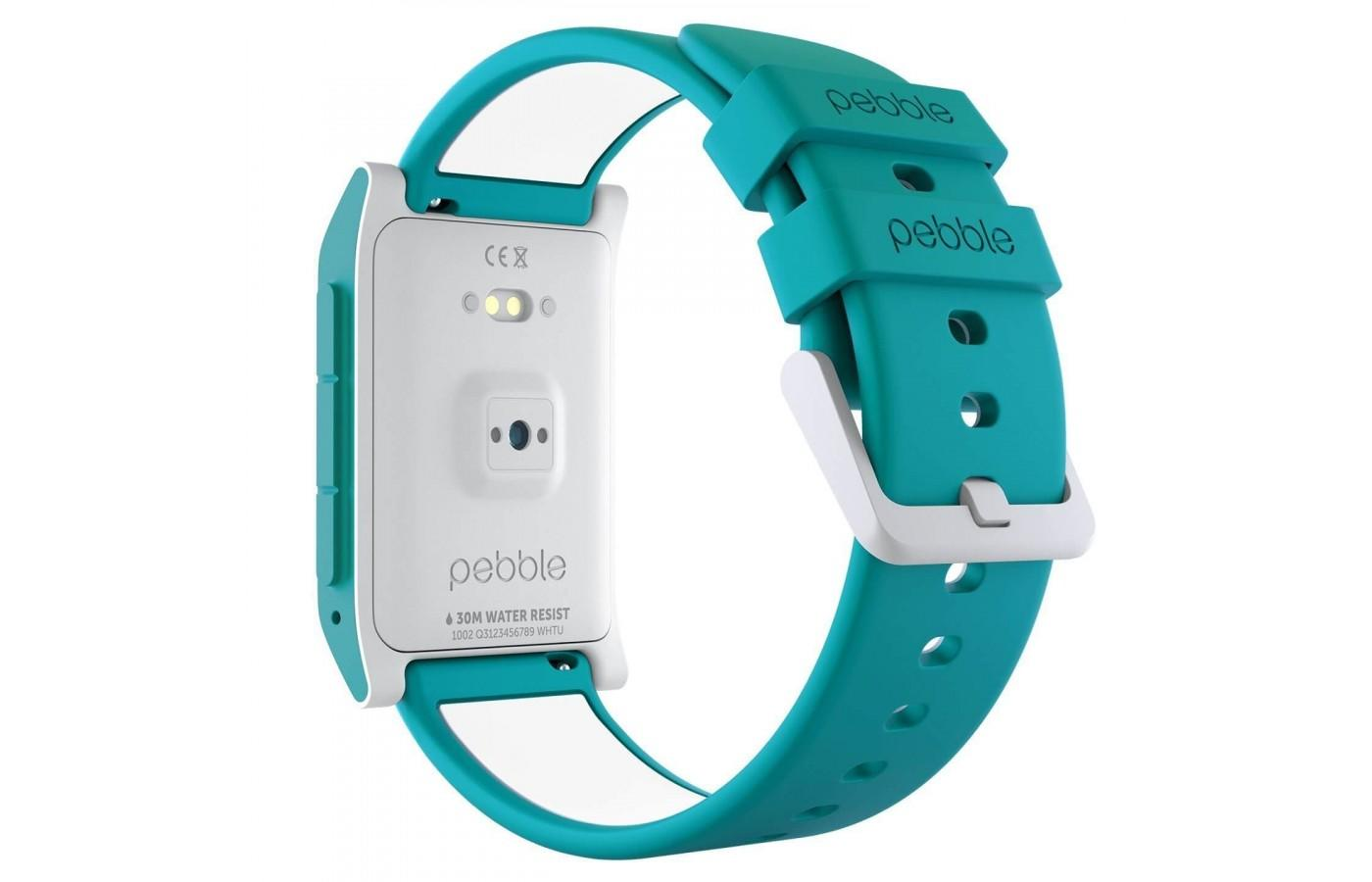 Heart rate is monitored through wrist sensors on the Pebble 2 + Heart Rate