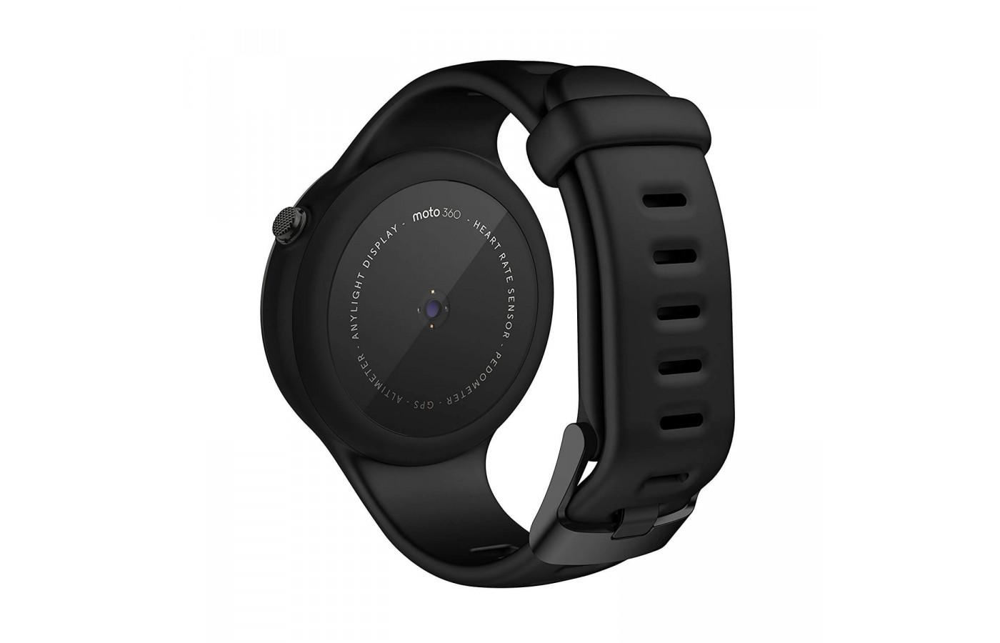 Rear view of the Motorola Moto 360 Sport with air vents in the band