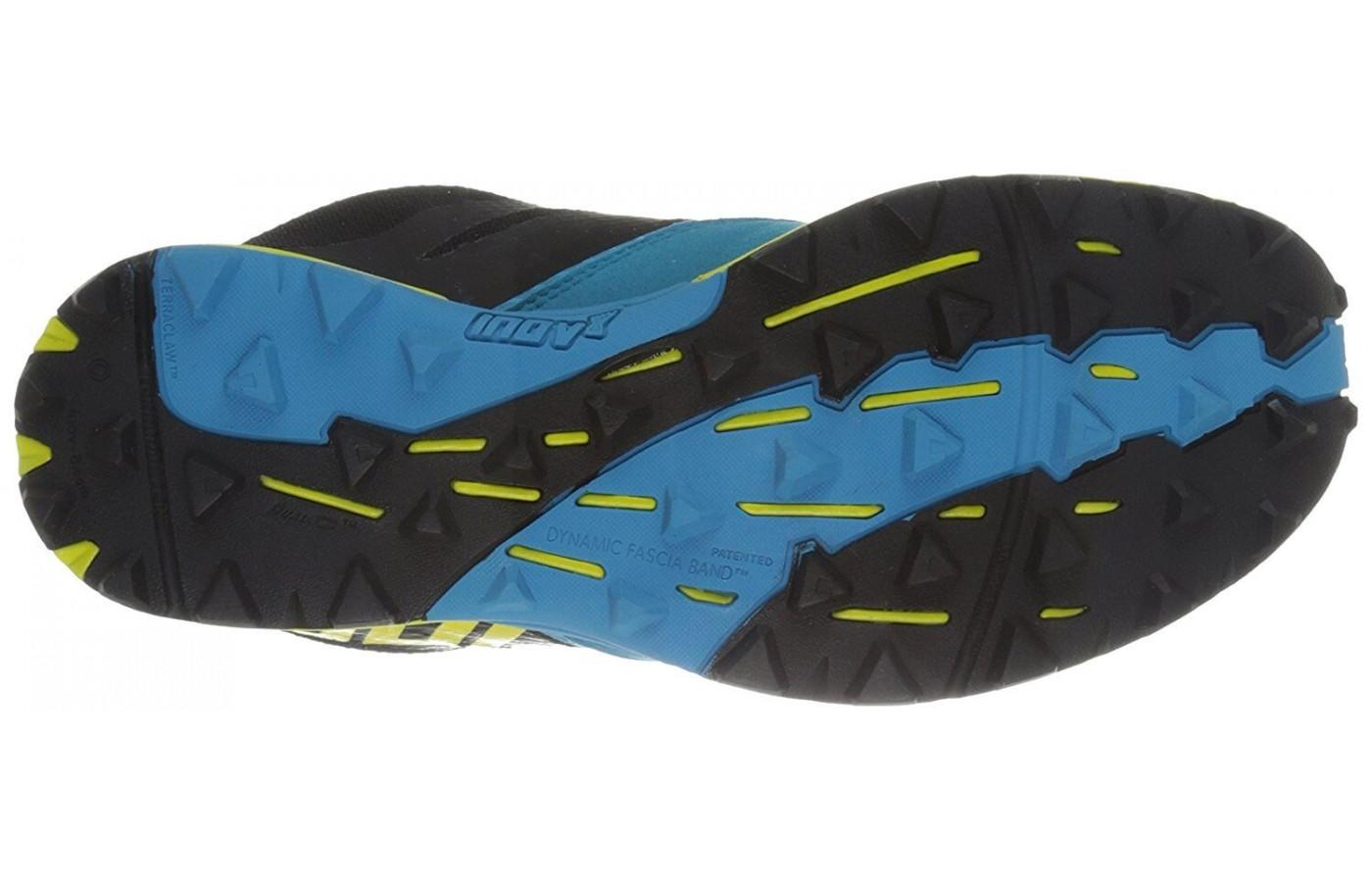 The Inov-8 Terraclaw 250 outsole uses Dual-C compound for durability and stick rubber for grip