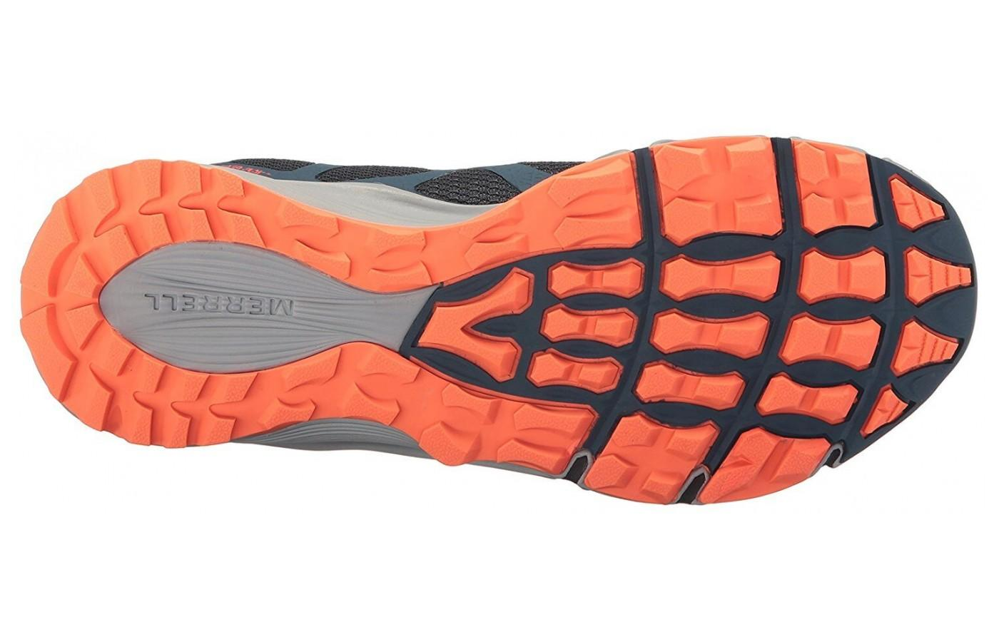 Merrell Agility Charge Flex features skeleton-like lugs underfoot