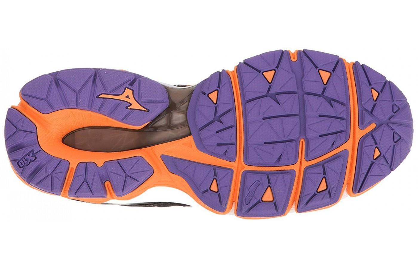 The outsole of the Mizuno Wave Horizon uses durable X10 rubber