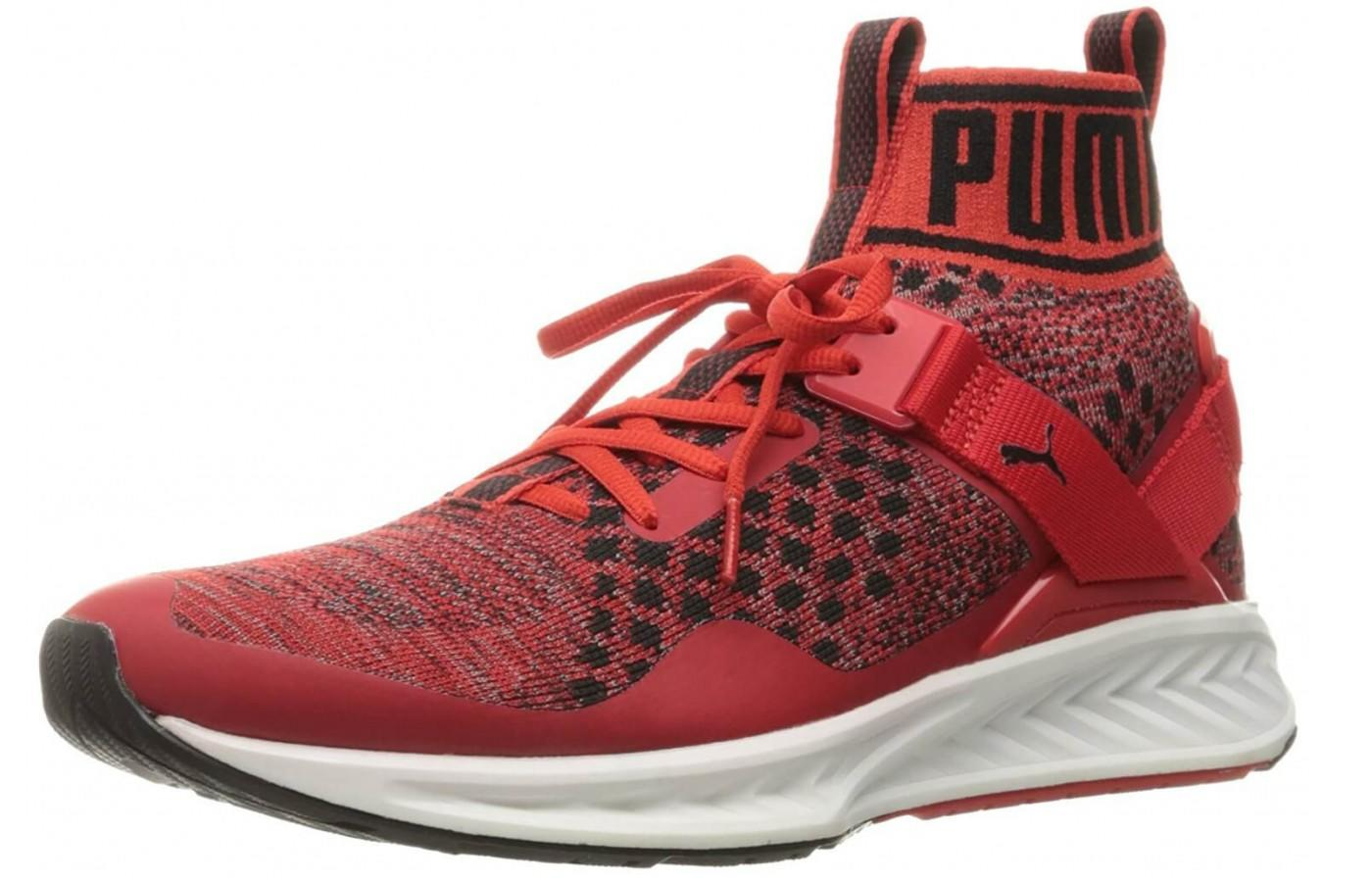 the Puma Ignite evoKnit is a stylish high top running shoe