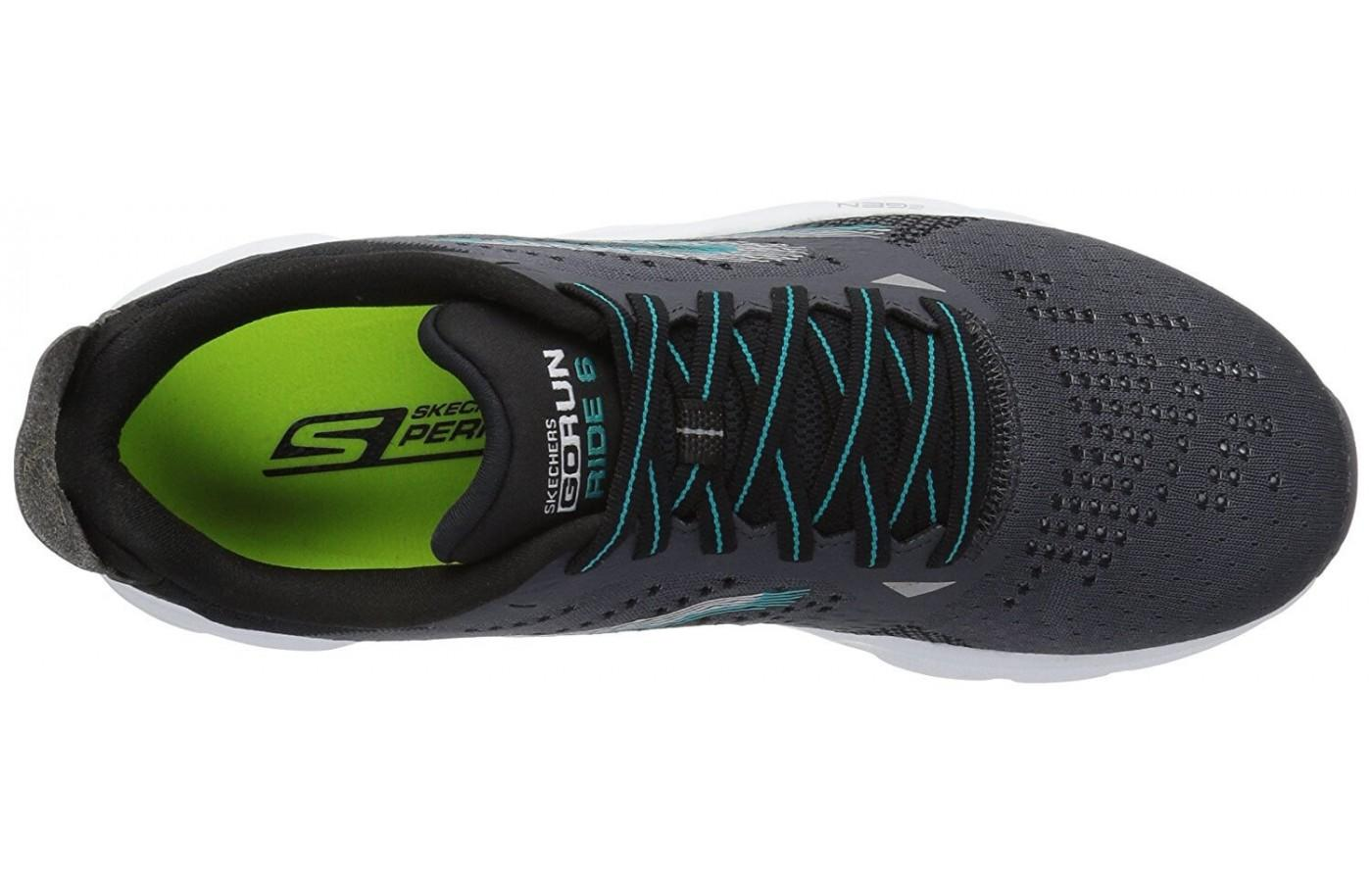 after lace-up, the upper of the Skecher GOrun Ride 6 has a sock-like snug fit