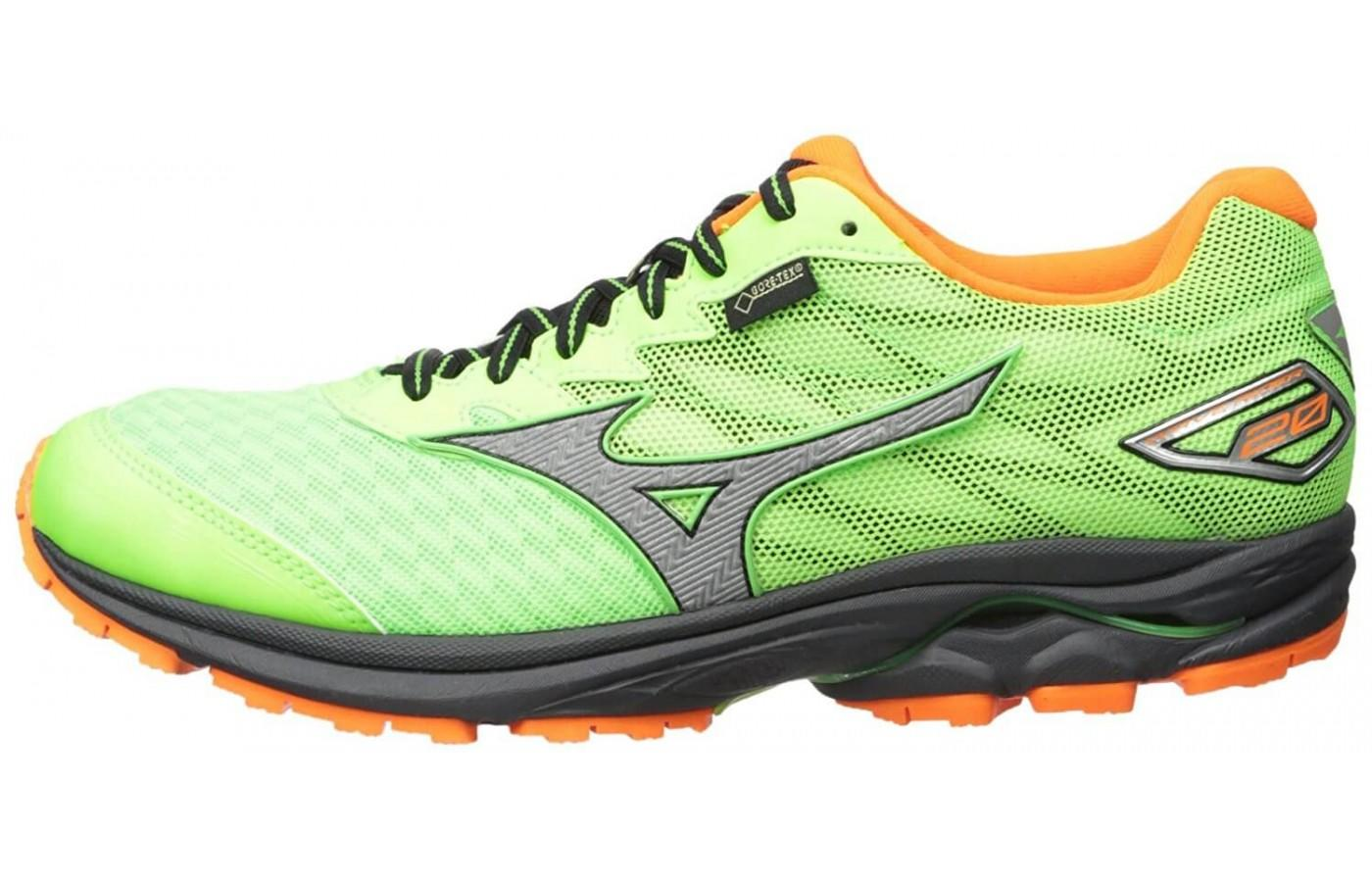 Mizuno Wave Rider 20 GTX comes in a flashy green and orange color option
