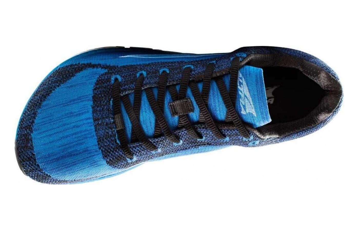 Altra Esclante top view showcasing the natural foot shape and wider toe box