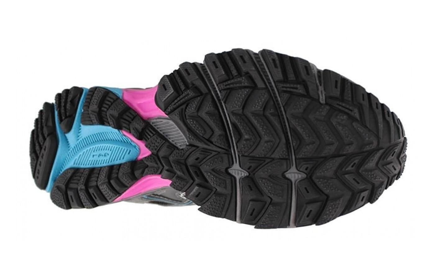 The impressive grippy AHAR outsole lugs provide tractionand the flex grooves assist with flexibility  for nimbler trail adventures