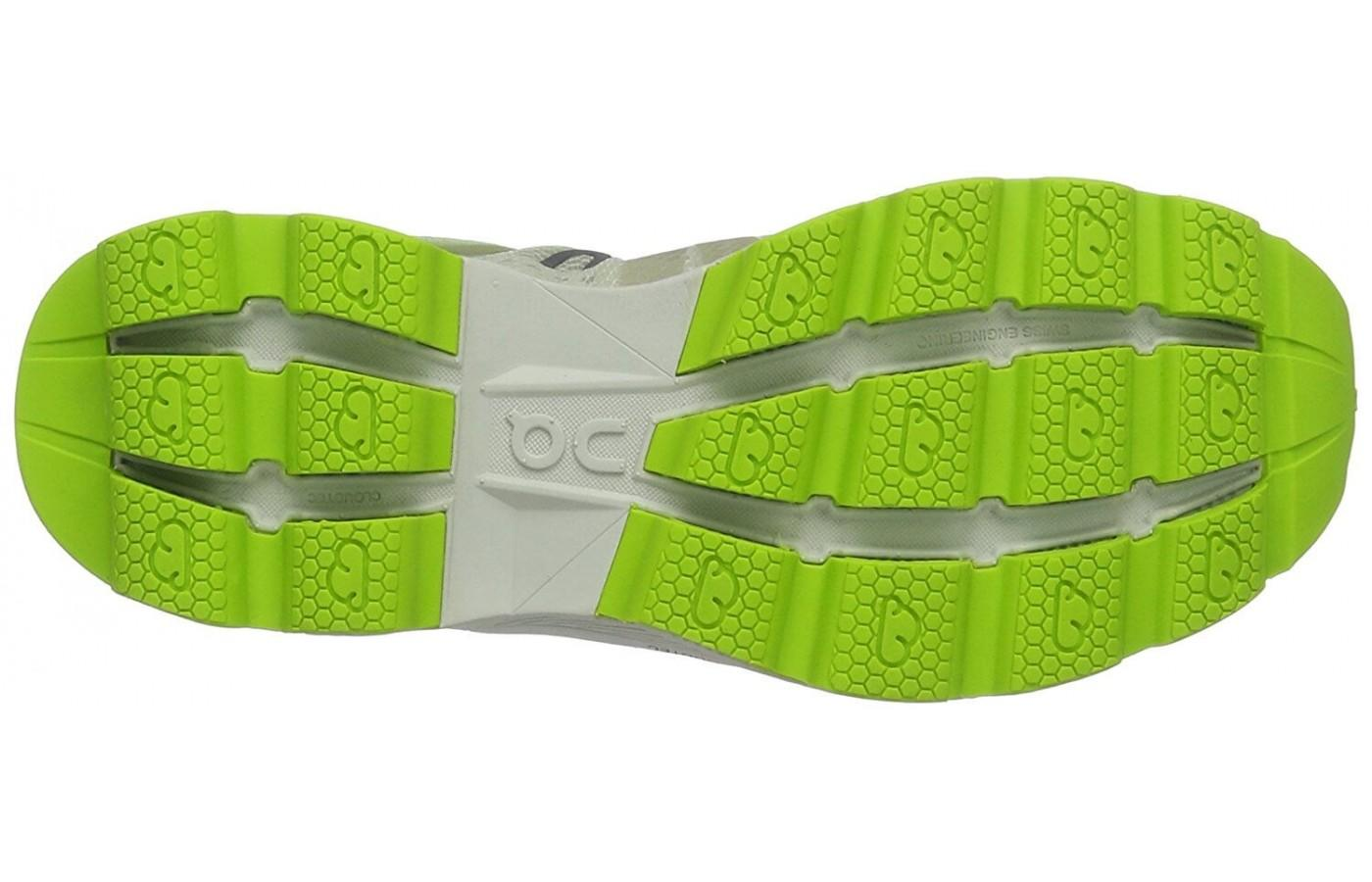 a view of the pods on the outsole of the Cloudracer running shoe