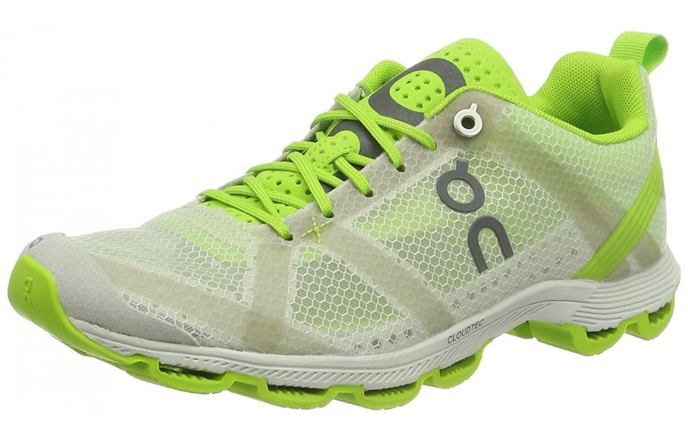 an angled side view of the Cloudracer running shoe