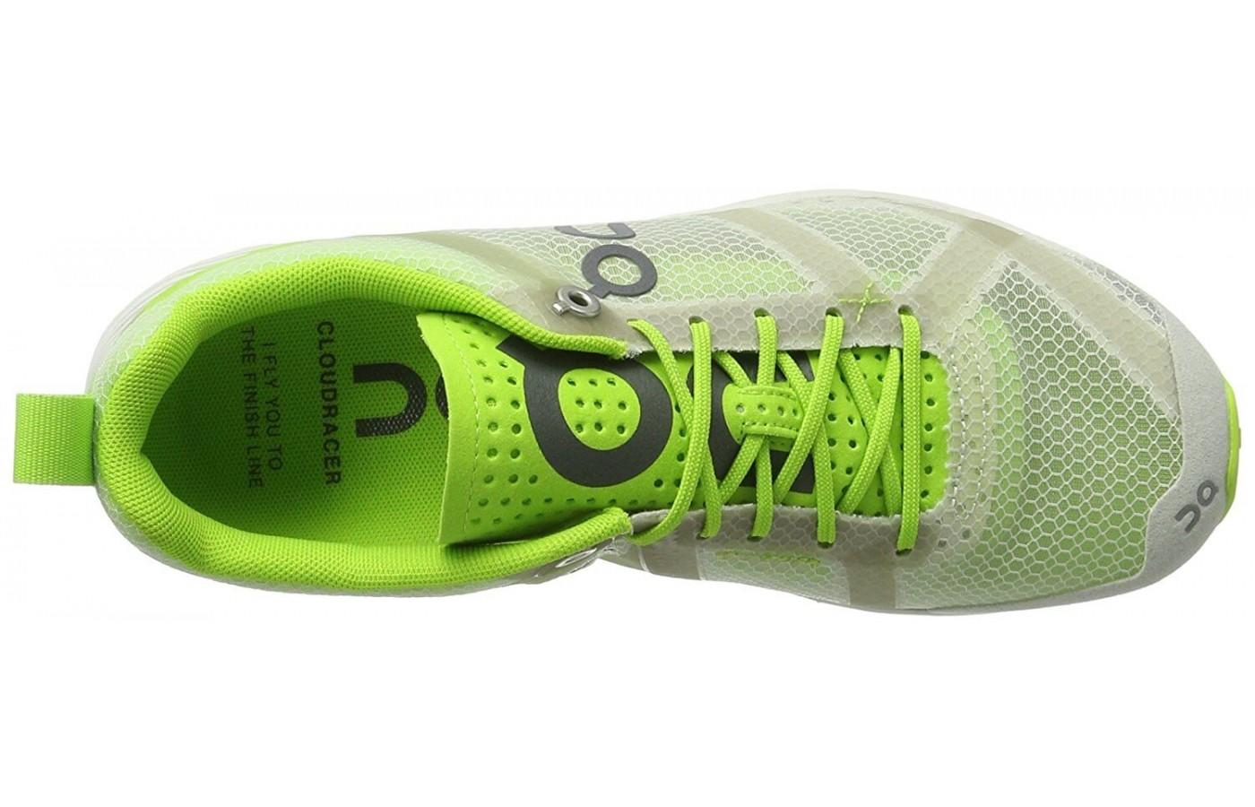 a look at the breathable mesh upper on the Cloudracer