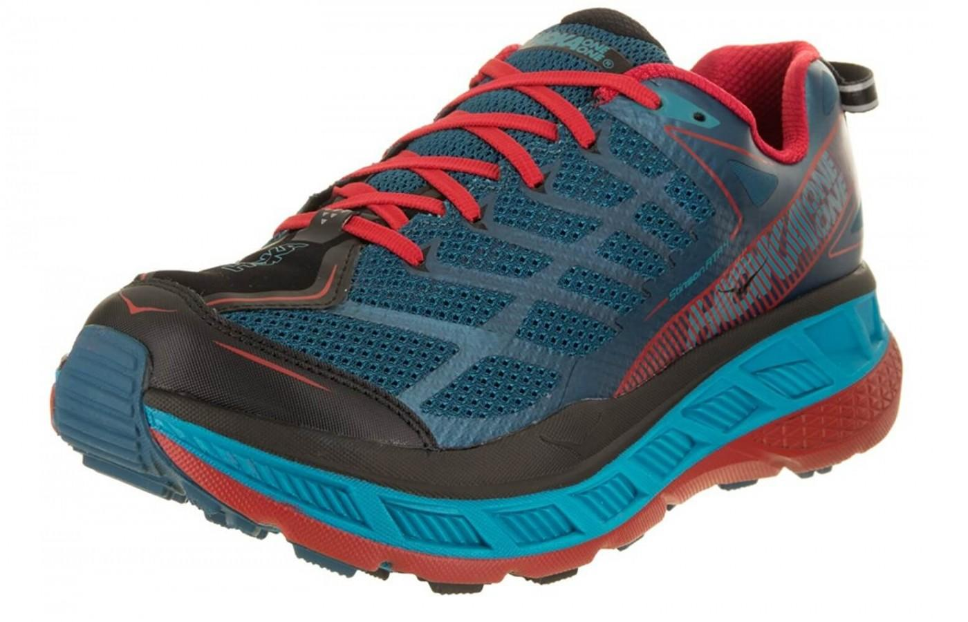 The thick midsole of this Hoka model takes on the trails too.