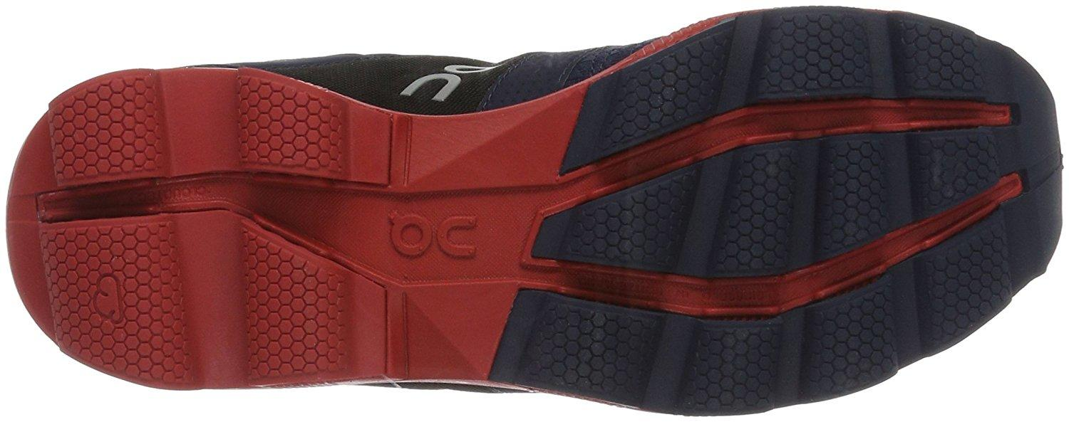 the outsole of the On Cloudcruiser is comprised of 15 separate rubber pods for maximum shock absorption and traction