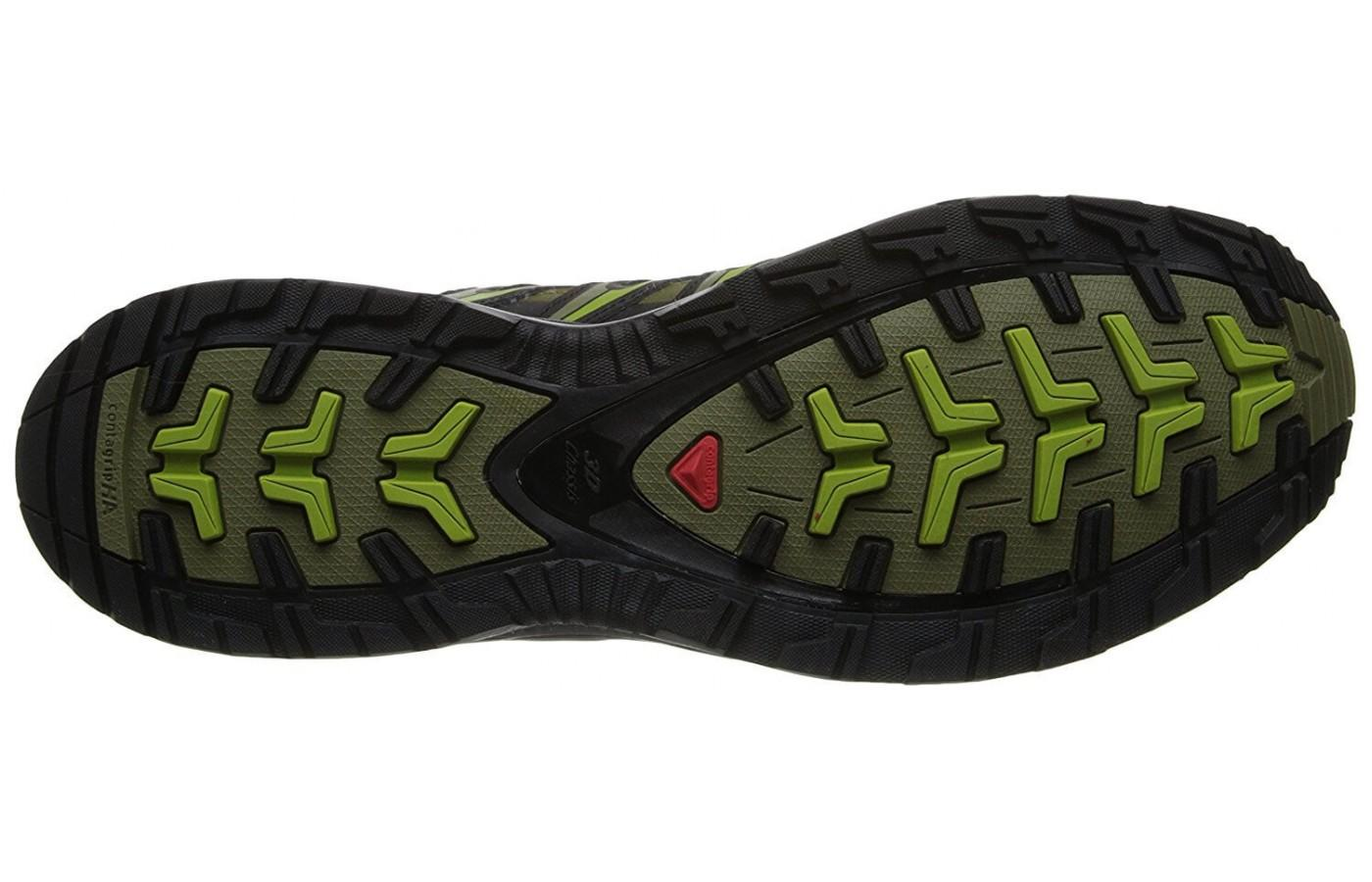 the outsole of the Salomon XA Pro 3D CS WP is made from both carbon and blown rubber and has a number of multi-directional lugs