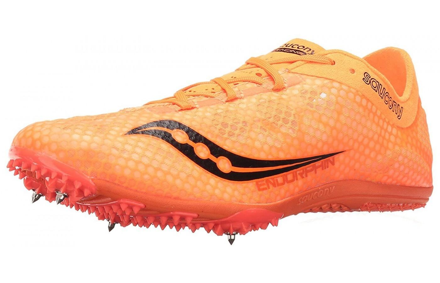 the Saucony Endorphin shown from the front/side