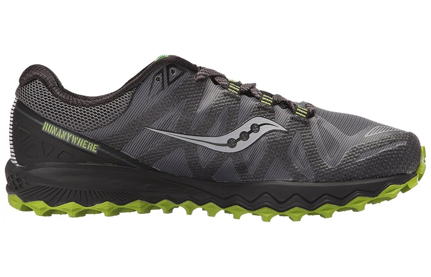 The Saucony Peregrine 7 midsole is composed of EVERUN cushioning