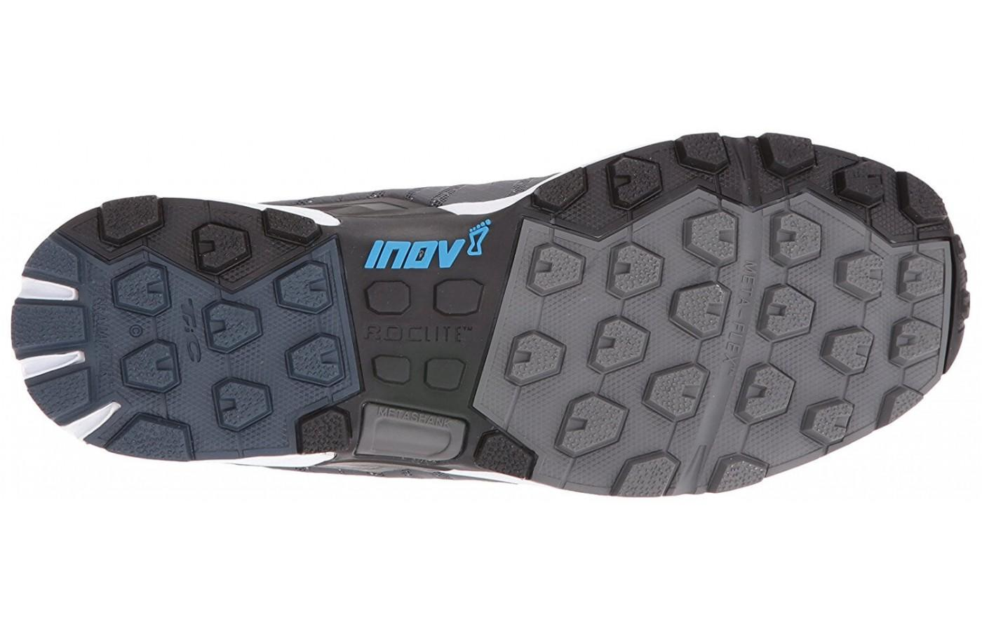 A view of the bottom outsole of the Inov-8 Roclite 290.
