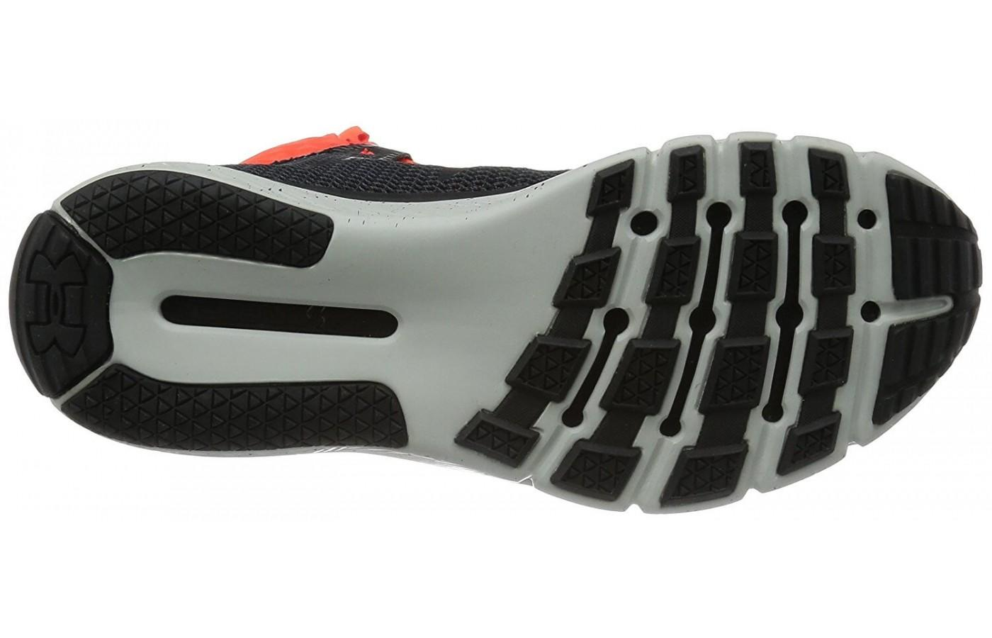 The outsole of the Under Armour Delta Highlight.