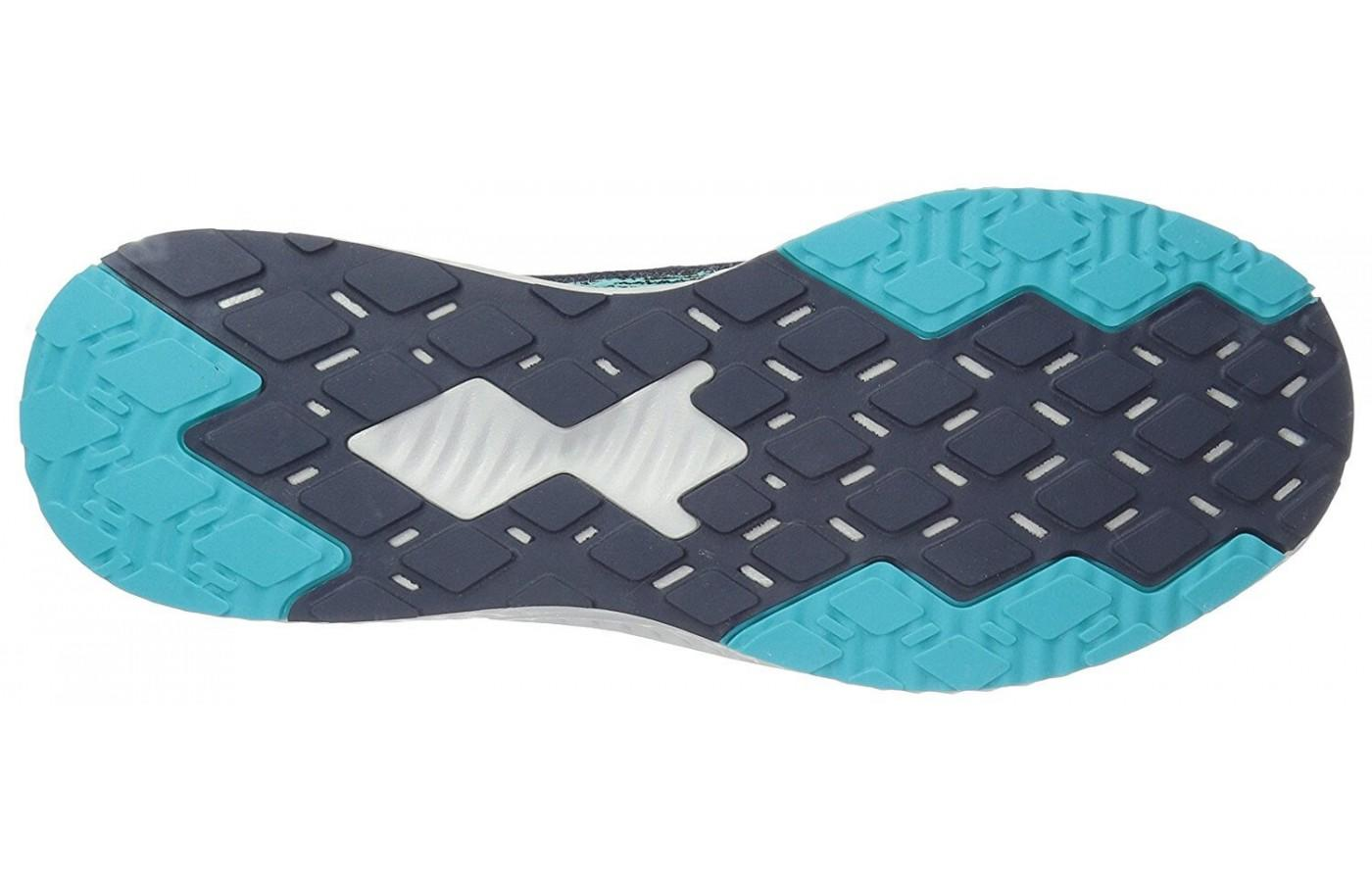 The unique diamond pattern of the outsole provides added grip