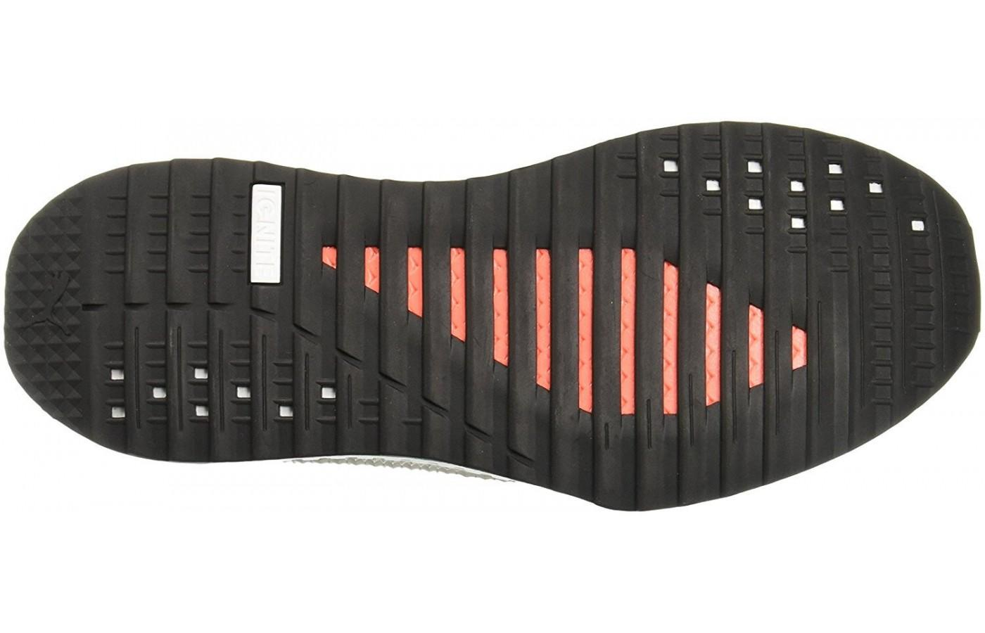 The outsole is a more traditional, protective material.