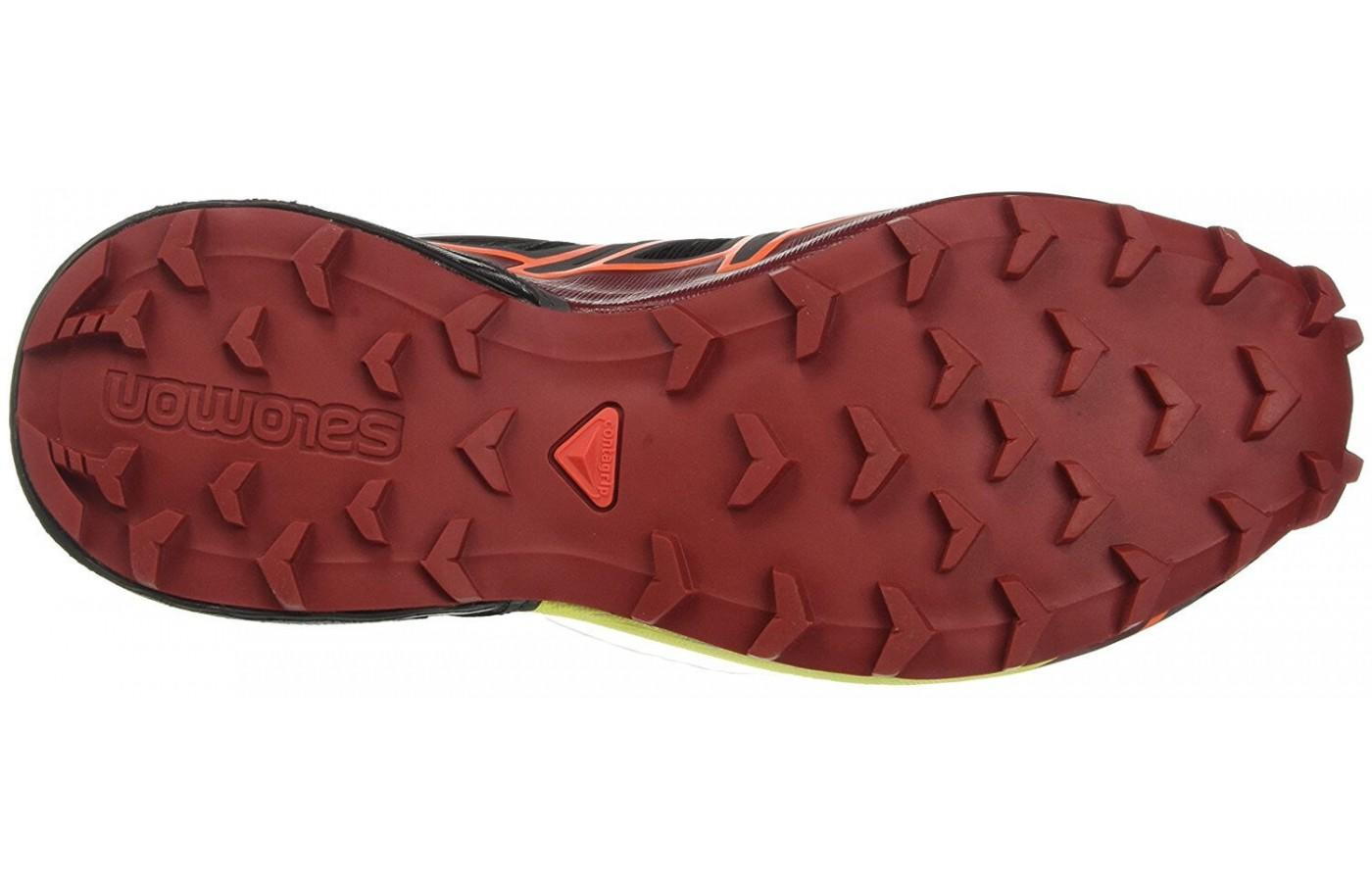 The outsole provides an aggressive lug system for superior traction