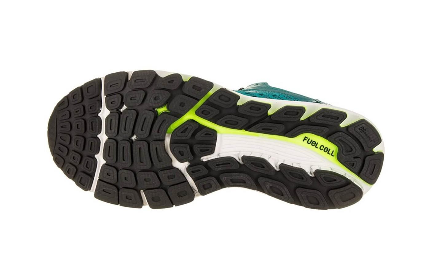 The underfoot design uses multiple rubber materials for added traction and durability.