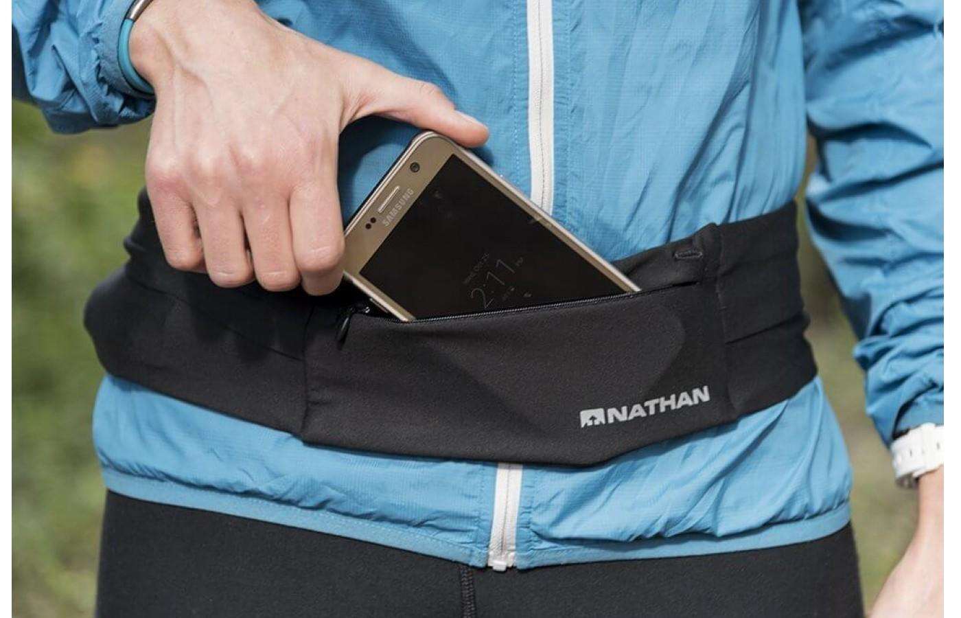 The Nathan Zipster Belt can fit up to an iPhone 7 Plus