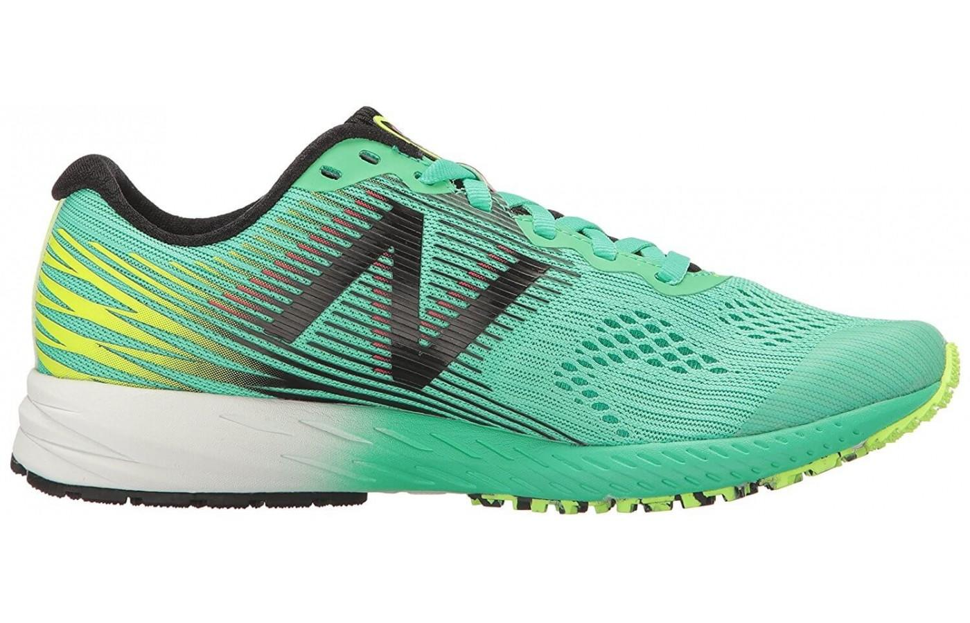 The New Balance 1400v5 uses a no sew material application
