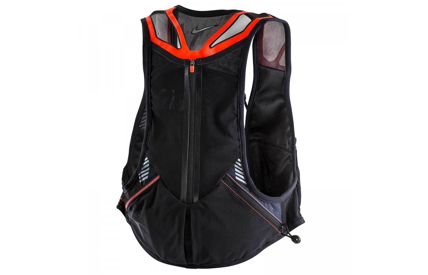 The vest features breathable mesh and welded overlays