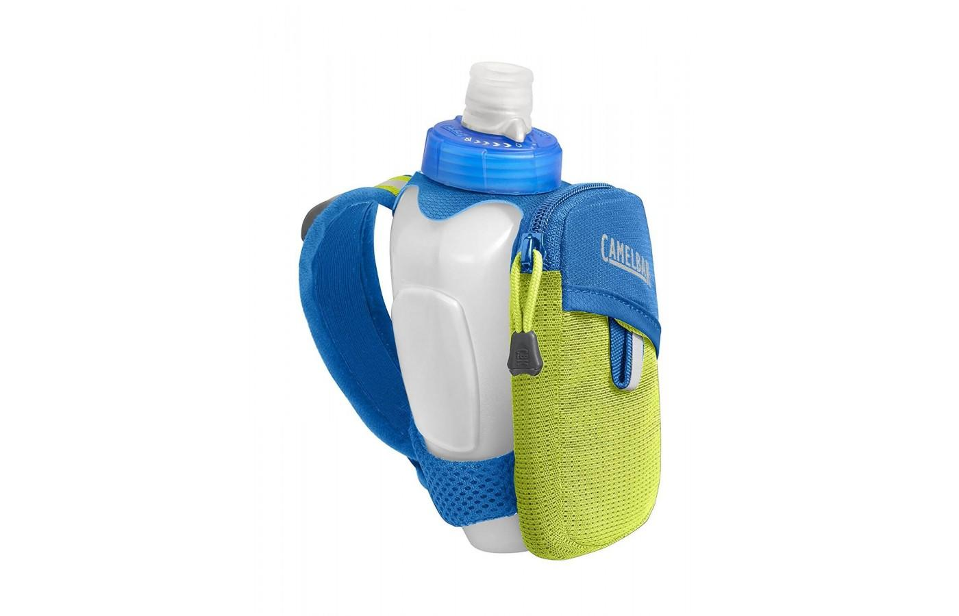 The Camelbak Arc Quick Grip Handheld Water Bottle has a small zippered pocket