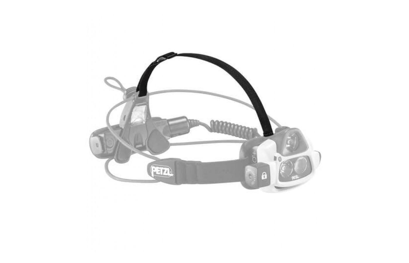 The Petzl NAO+ Headlamp's battery pack can be worn on the head or at the waist