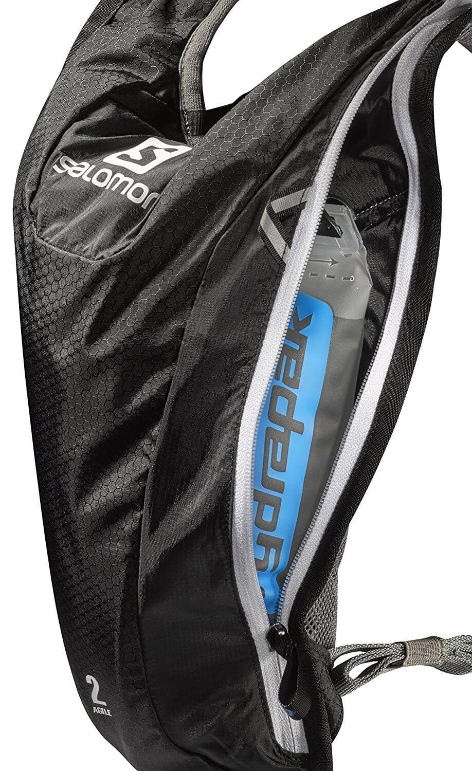 The Salomon Agile 2 Hydration Pack features EVA padded straps