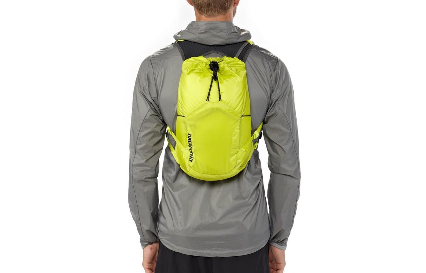 The Patagonia Fore Runner Vest 10L is made of durable ripstop nylon