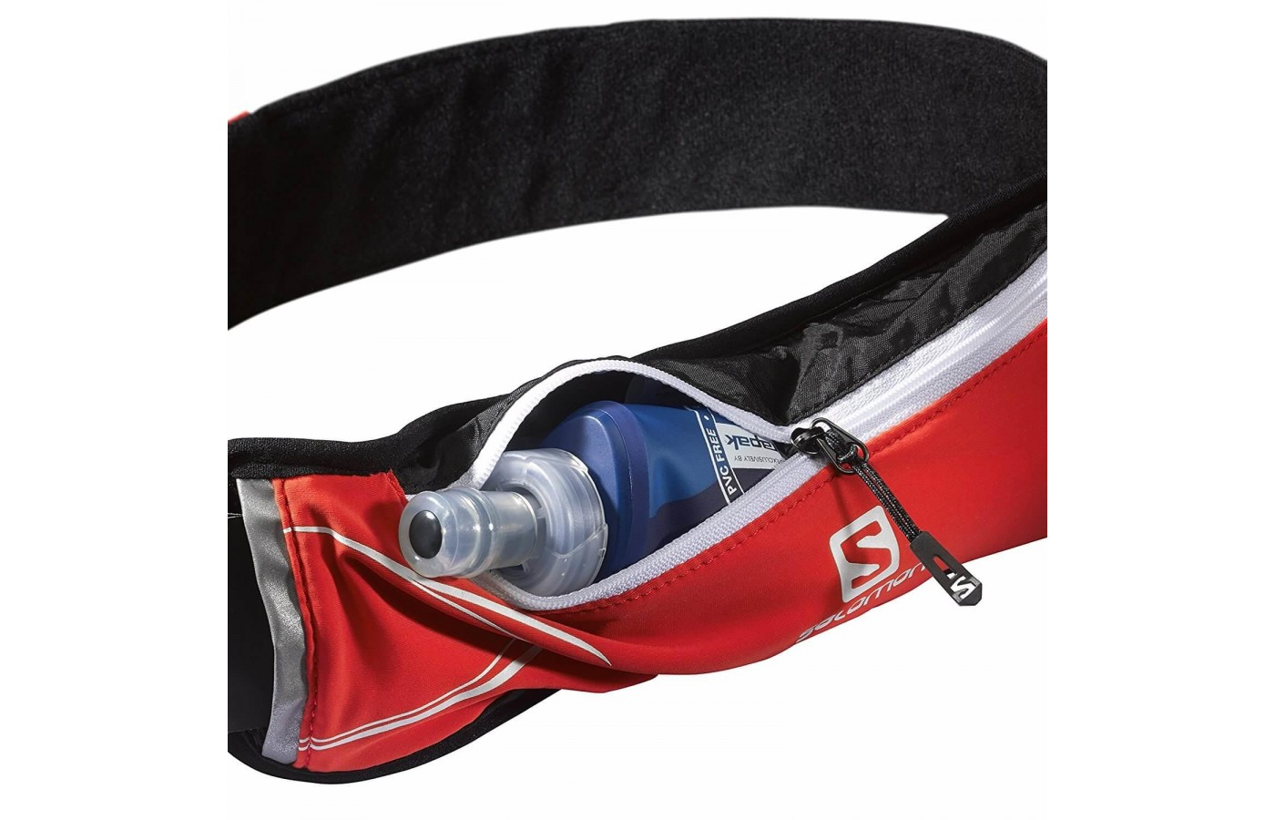The included soft water flask fits perfectly in the belt's zippered pouch.