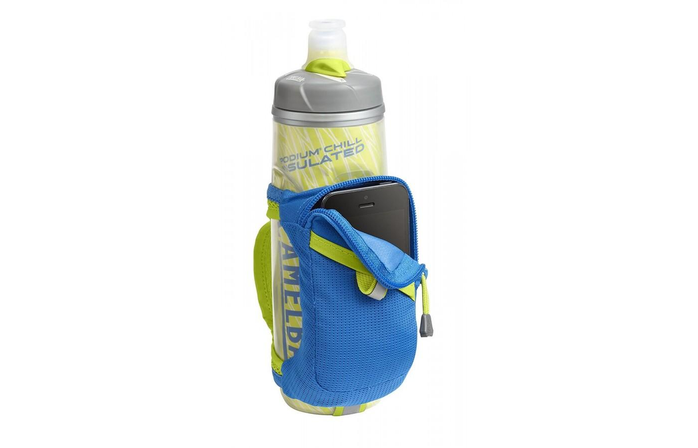 The Camelbak Quick Grip Chill Handheld Water Bottle lets you tote along smaller phones