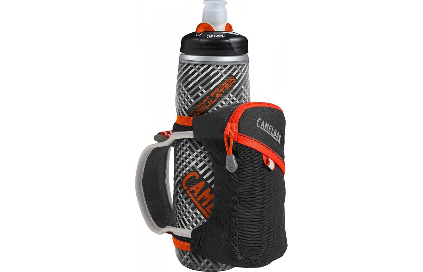 Camelbak Quick Grip Chill Handheld Water Bottle totes 21 oz of water in a round insulated bottle