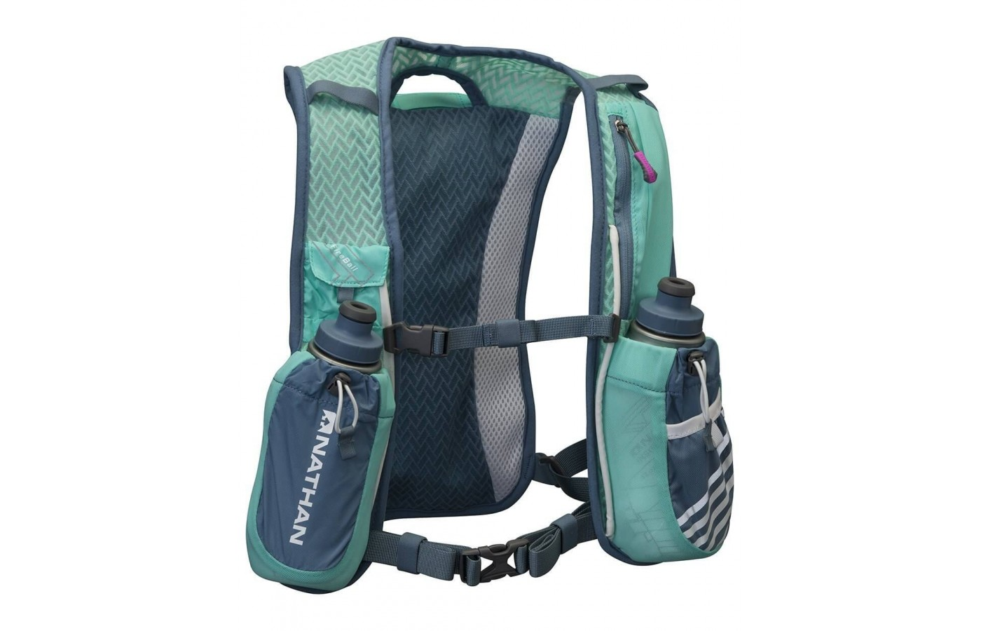 The Nathan Fireball has two pouches on its shoulder straps for storing water flasks.