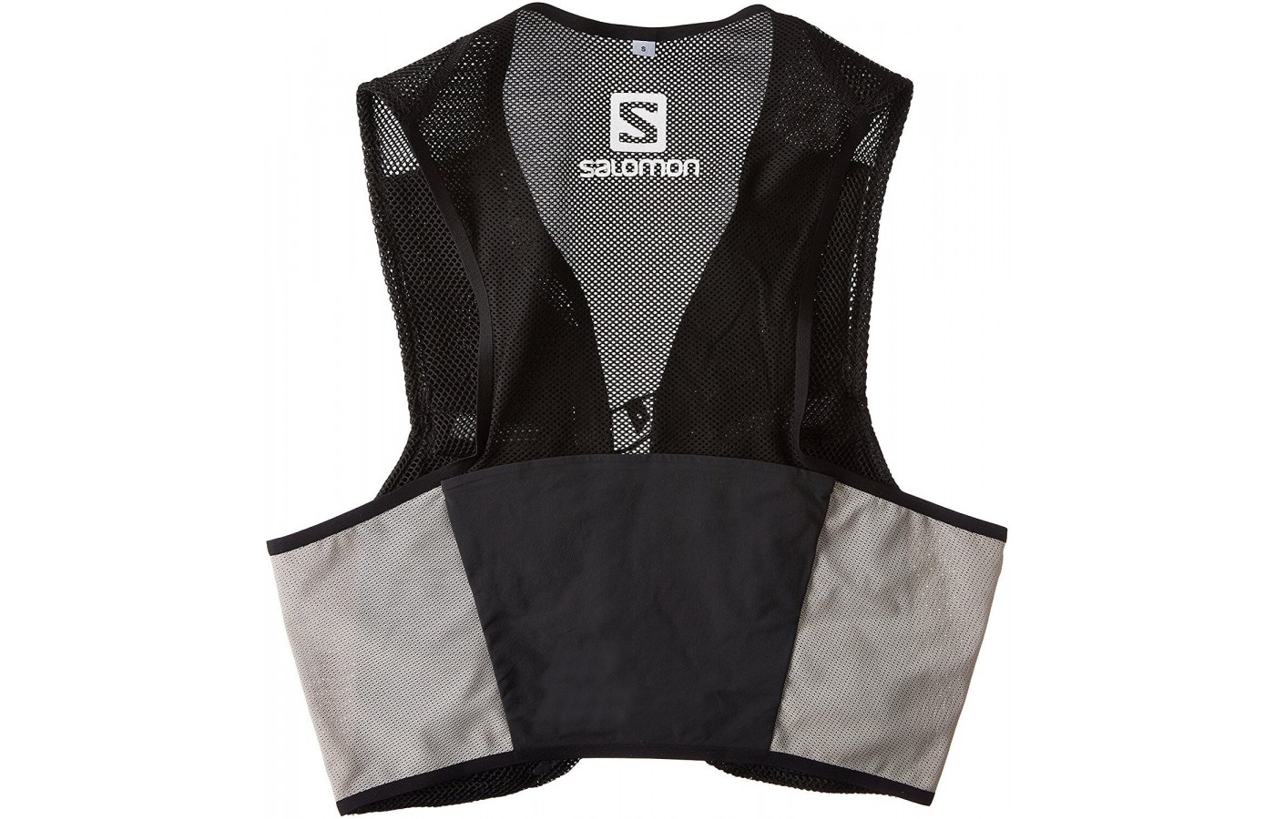 The vest's mesh promotes breathability and comfort, its construction lends itself to a stable fit, and the rear kangaroo pouch offers an extra storage option