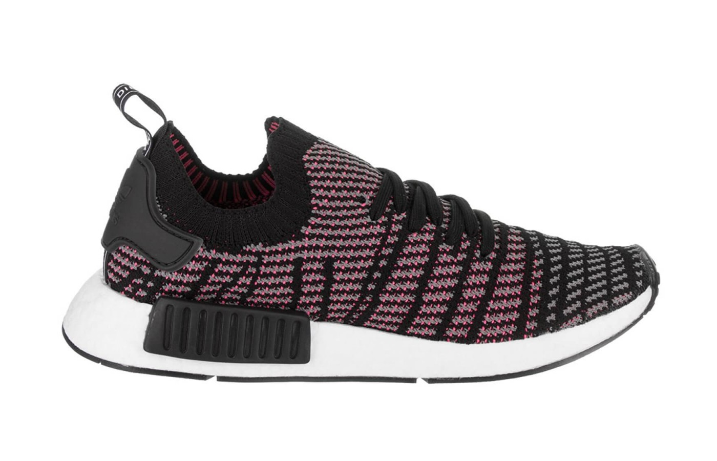 The Adidas NMD R1 Stlt Primeknit features a Boost midsole