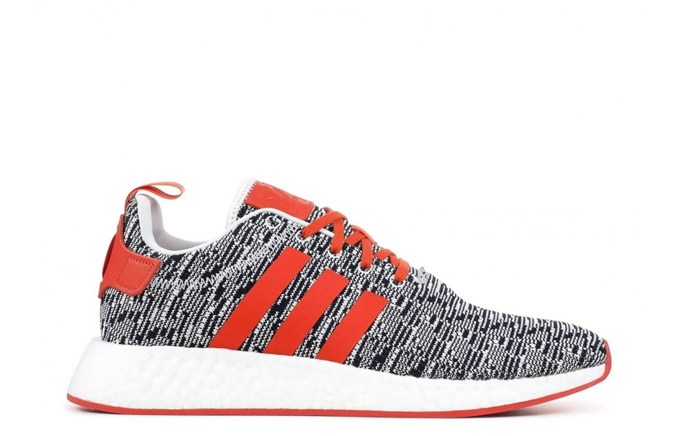The Adidas NMD R2 in a grey and orange colorway