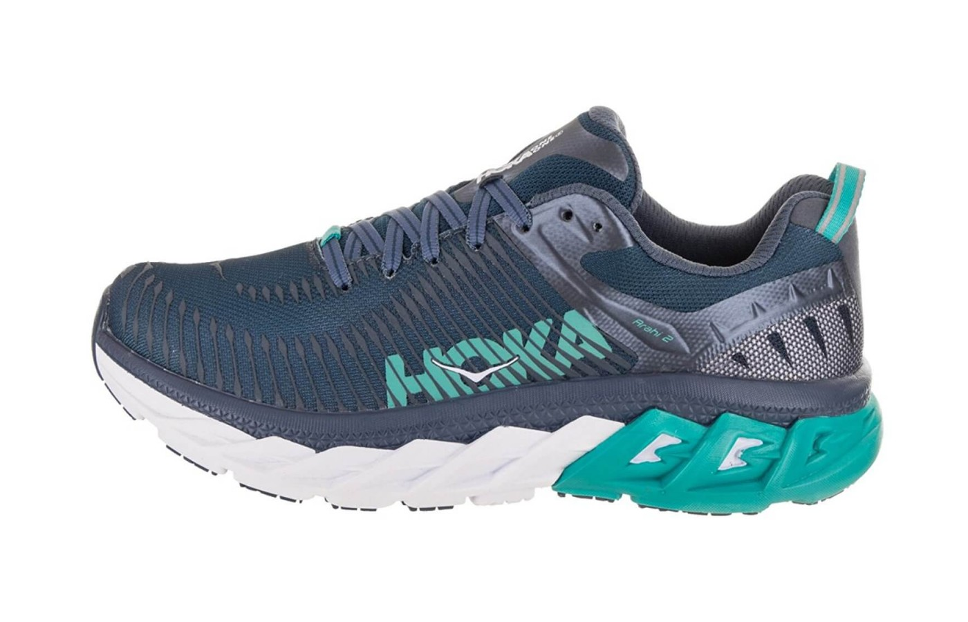 The Hoka One One Arahi 2 features Meta Rocker geometry