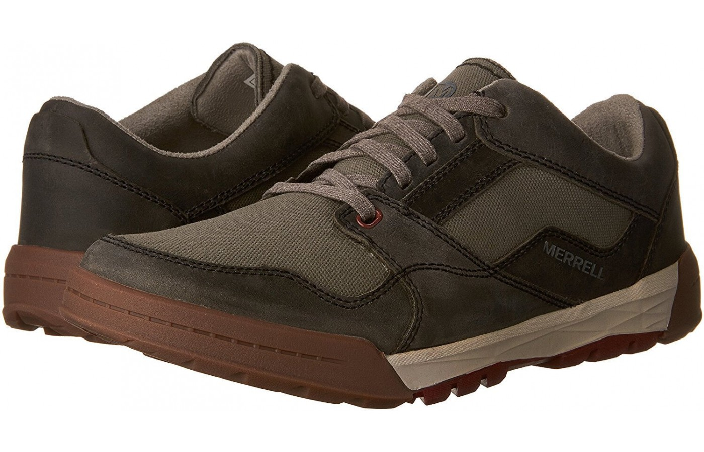 The Merrell Berner Shift Lace features a leather and canvas upper