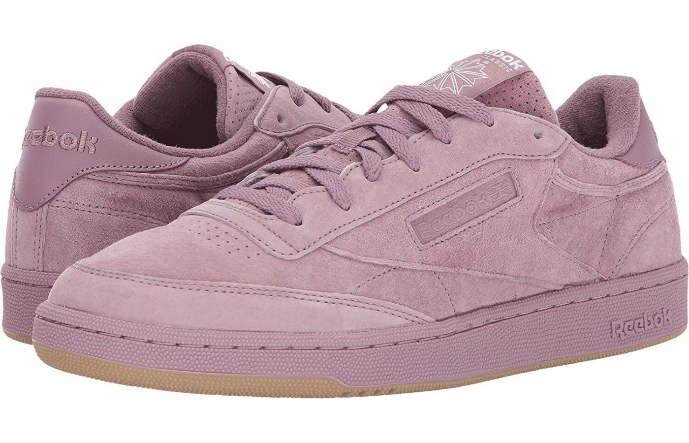 The Reebok Club C 85 in a light pink colorway