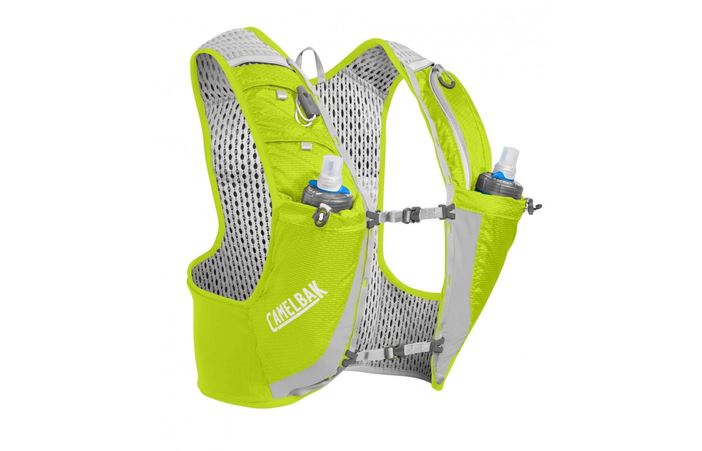 The CamelBak Hydration Ultra Pro Vest comes with two 17 ounce quick stow flasks
