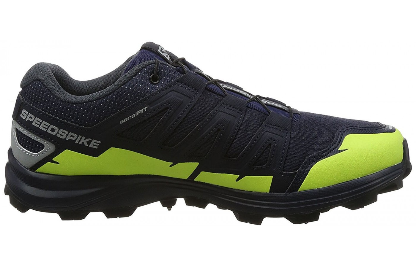 The Salomon Speedspike CS features a ClimaShield waterproof forefoot layer